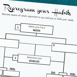 Free printable. Reprogram your habits blueprint to find out what you need and what you can do daily to achieve your goals.