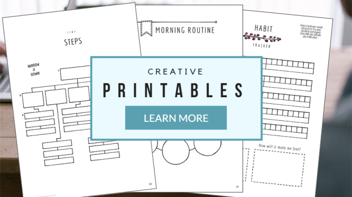 PRODUCTIVITY PRINTABLES Creative worksheets for developing effective habits & goal-setting skills.